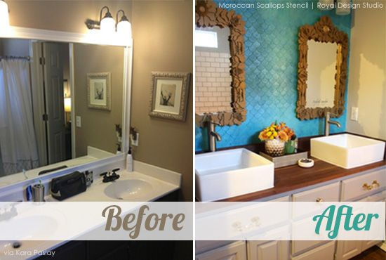 Stencil Ideas for a Bathroom Wall with Metallic Paint