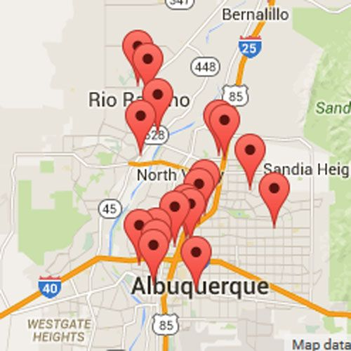 List and map of Albuquerque NM area breweries, brewery contact information and locations.