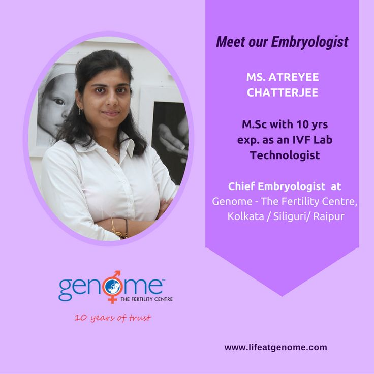 Today let us introduce you to Ms. Atreyee Chatterjee (M.Sc)- Chief Embryologist at Genome – The Fertility Centre. Ms. Chatterjee has over 10 years of experience as an #IVF Lab Technologist. She has been a key contributor in commissioning the first plush IVF lab at our mother centre beside setting up the IVF lab of intl. standard at Genome Siliguri centre and further developing the standard operating protocols for all embryology and #andrology lab processes.