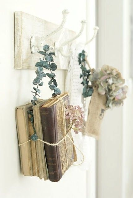 antique books and dried flowers