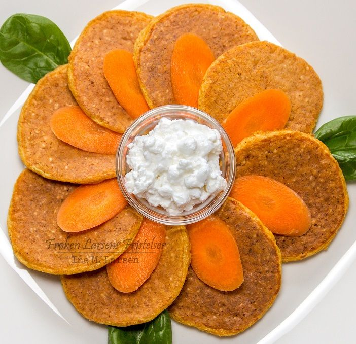 Gulrot- og cottage cheese lapper   17 lapper á 22 kcal