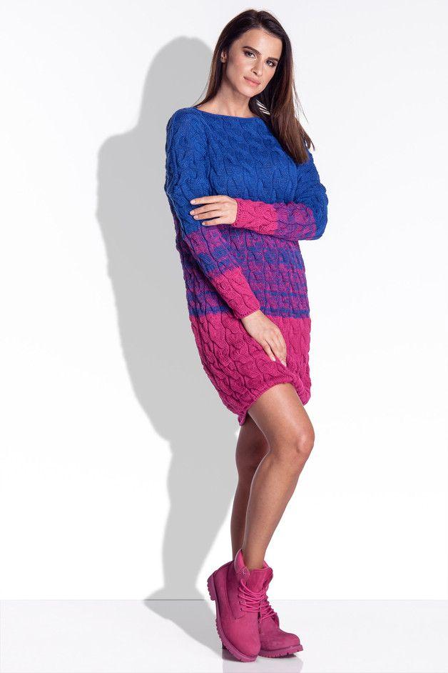 Sukienka z warkoczami ombre I152 - fimfi - Sukienki midi