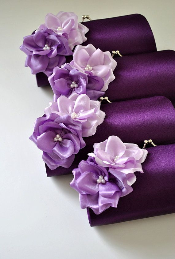 Shades of Purple / Small Bridal clutch / Bridesmaid by Vanijja, $20.00