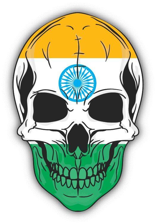 Skull Flag India Car Bumper Sticker 4  x 5