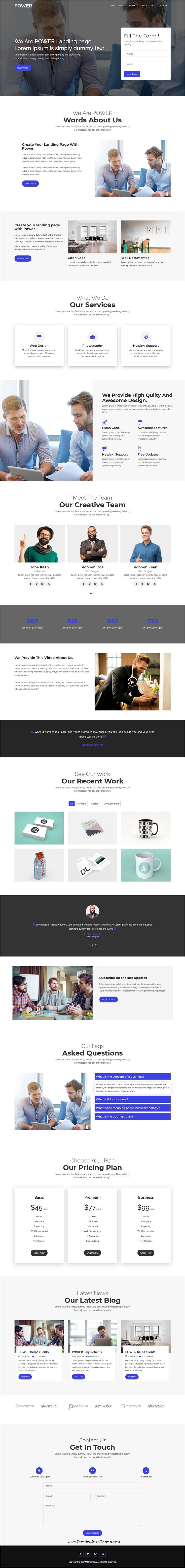 Power is clean and modern parallax design 6in1 responsive #bootstrap HTML template for onepage creative #business #website to live preview & download click on Visit
