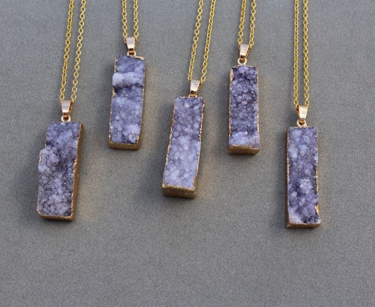 Mothers day gift under 10.00 - Amethyst Druzy bar necklace - purple amethyst Drusy necklace - amethyst druzy pendant necklace - Graduation