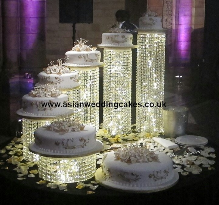Natural History Museum 7 Tier Crystal Wedding Cake Iced