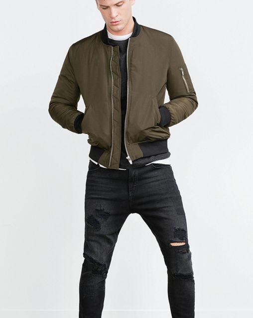 Green Bomber Jacket, Zara Bomber Jacket, Men's Bomber Jackets, Jackets For  Men, Man Fashion, Style Fashion, Metal, Urban Style, Moda Masculina