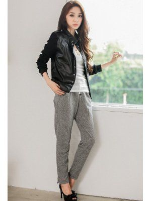 Winter Fall PU Patchwork Double Breasted Long Sleeve Jackets