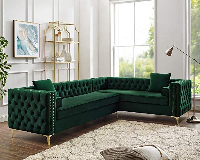 Amazon Com Inspired Home Green Corner Sectional Sofa Design Giovanni 120 Right Facing V Living Room Furniture Layout Corner Sectional Sofa Sofa Design