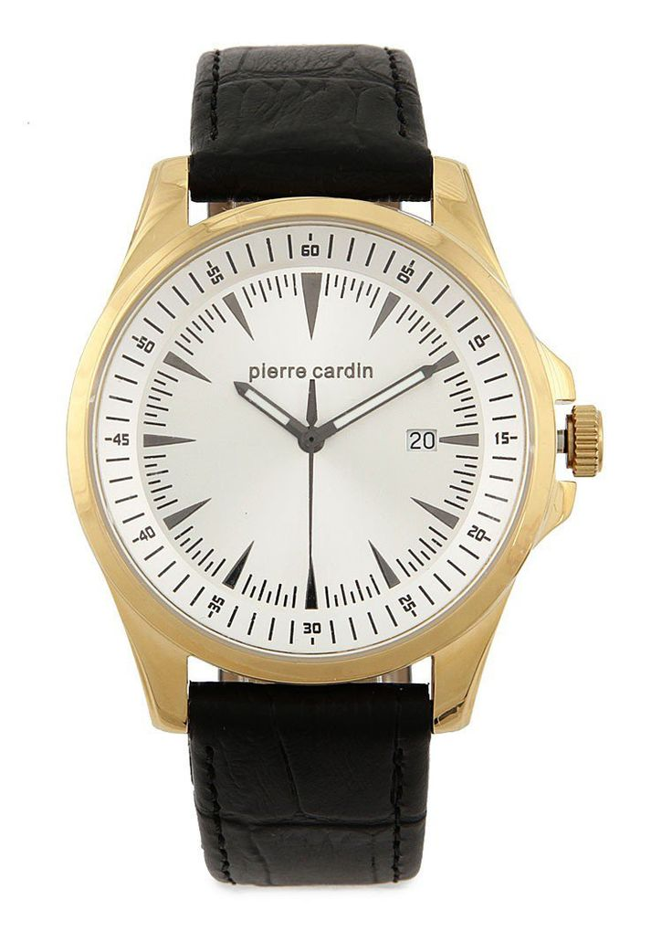 Black Homme Troisieme Watches by Pierre Cardin. Strap made from genuine leather with black color, stainless steel case with gold color, black color, adjustable buckle fastening, waterproof, strap length 23.5 cm with 4 cm diameter.  http://zocko.it/LDcys