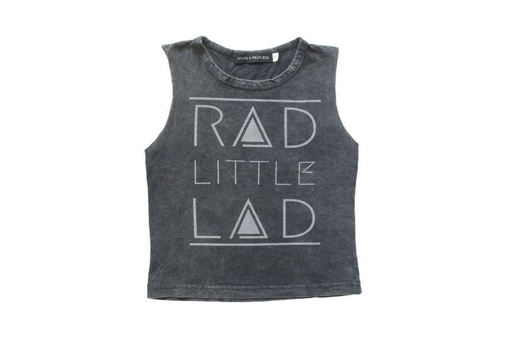 Boys Rad Little Lad Grey Acid Wash Muscle Tee