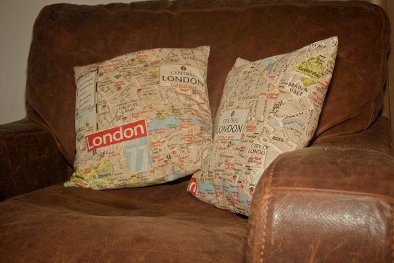 Cushion in Marson Imports' London Map Fabric. 35cm by EvieandLola