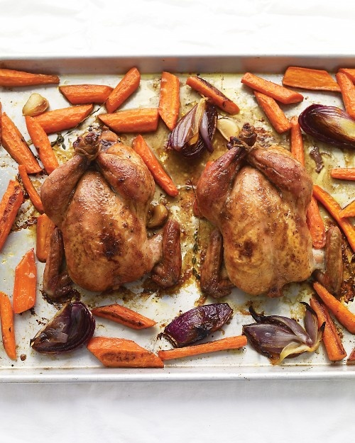 Maple syrup is an easy, delicious glaze for these quick-cooking Cornish game hens.