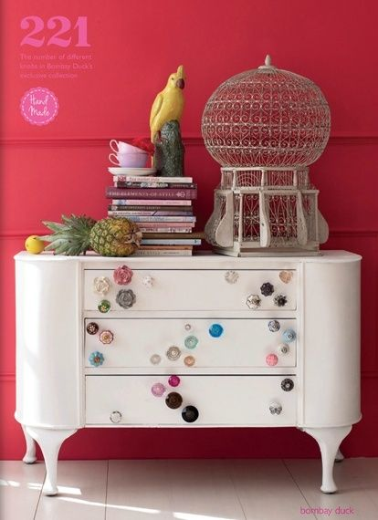 Miscellaneous knobs and pulls on dresser on a white painted dresser..beautiful way to upcycle an old piece.. by lelia