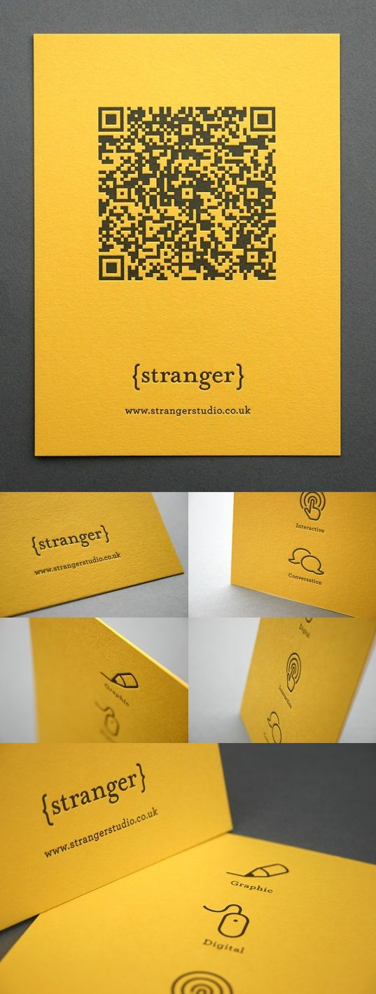 Letterpress QR Code postcard for Stranger Studio