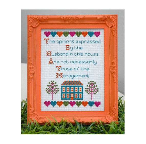 Funny Husband Quote Cross Stitch Pattern Instant by tinymodernist
