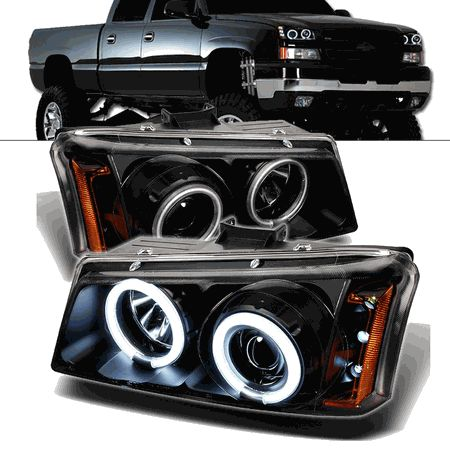 2003-2006 Chevy Silverado Angel Eye Halo & LED Projector Headlights - Black
