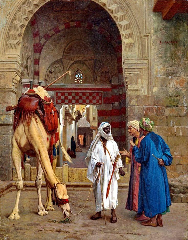 Arabs dispute , Cairo 1871 By Jean-Léon Gérôme - French , 1824-1904 Oil on panel , 29.8 x 23.5 cm