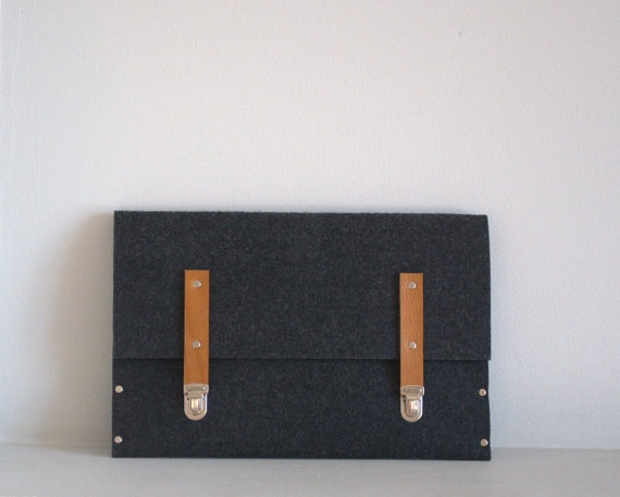Computer felt and leather strap bag DIY