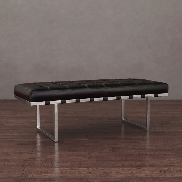 Sleek And Modern This Stylish Bench Features A Sturdy Stainless Steel Frame With Button Tufted