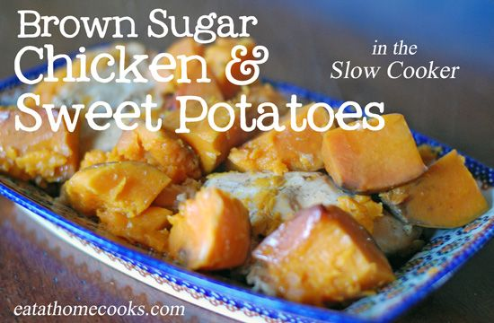Brown Sugar Chicken and Sweet Potatoes in the Slow Cooker: Brown Sugar Chicken, Sweets, Recipes, Cooked Brown, 4 Ingredients, Sweet Potatoes, Chicken Sweet Potato, Chicken Breast