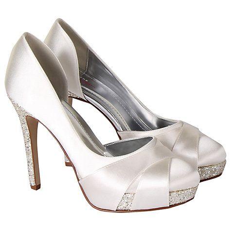 Buy Rainbow Club Christy Satin Glitter Platform Court Shoes, Ivory Online at johnlewis.com