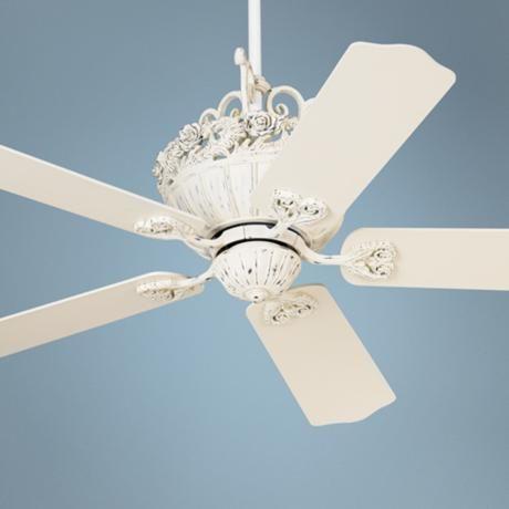 "shabby sheek ceiling fan | ... Fan motor only 13.5"" height (with out downrod). Minimum 9' ceiling"
