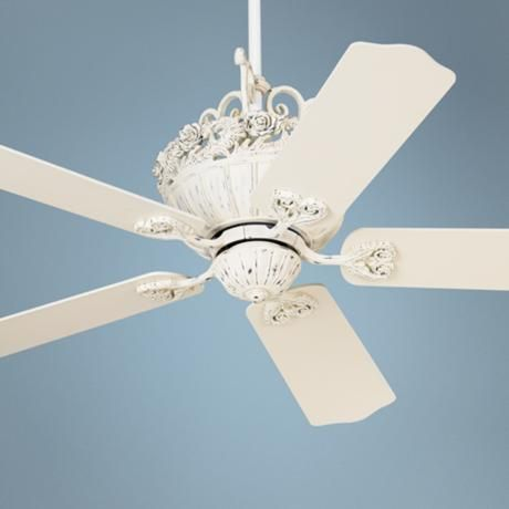 "shabby sheek ceiling fan | ... Fan motor only 13.5"" height (with out downrod). Minimum 9' ceiling"