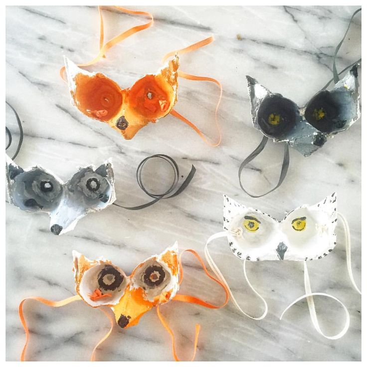 After school project: animal masks made with egg carton