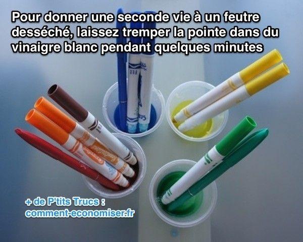 Malheureusement, les feutres sont souvent oubliés sous le lit et sans bouchon ! Résultat, le feutre ne fonctionne plus car il a séché. Pour lui donner une seconde vie, l'astuce consiste à tremper la pointe du feutre dans du vinaigre blanc :-)  Découvrez l'astuce ici : http://www.comment-economiser.fr/feutre-desseche.html?utm_content=buffer87f63&utm_medium=social&utm_source=pinterest.com&utm_campaign=buffer