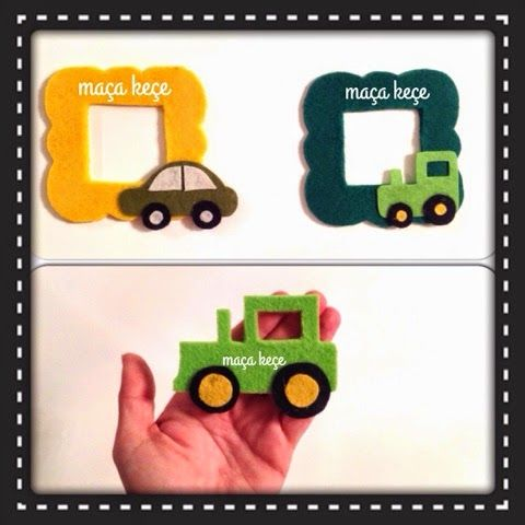 Keçe çerçeve magnet - araba & traktör / Felt photo frame - car & tractor