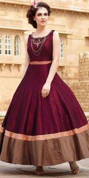 Enticing Maroon Silk Designer Gown.