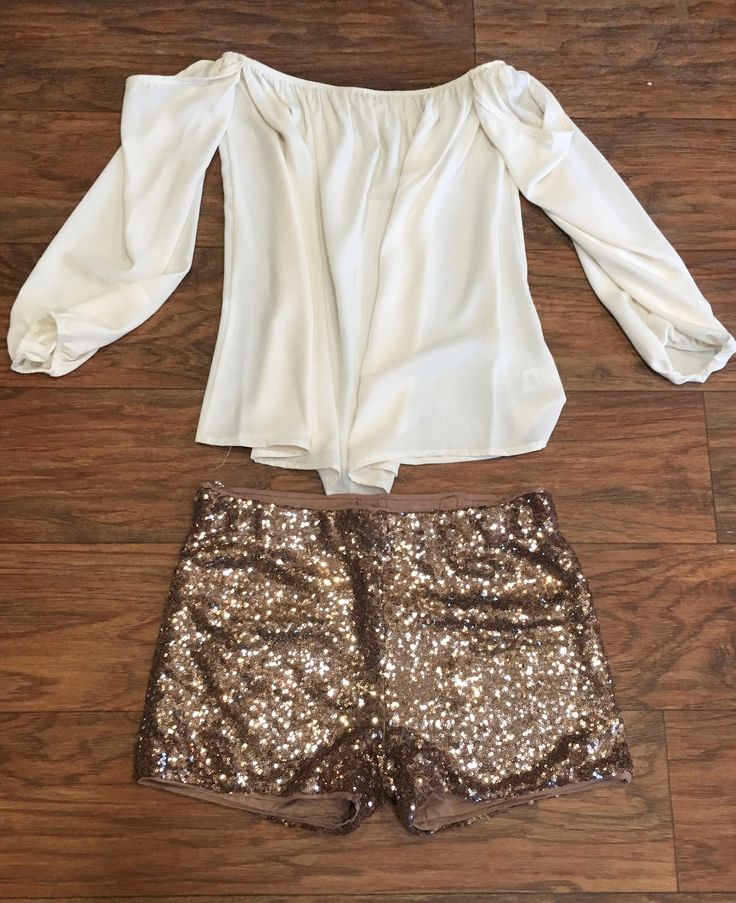 Bronze Sequin Shorts. Paired with our Take Me Downtown Top! ***These are running a size small***