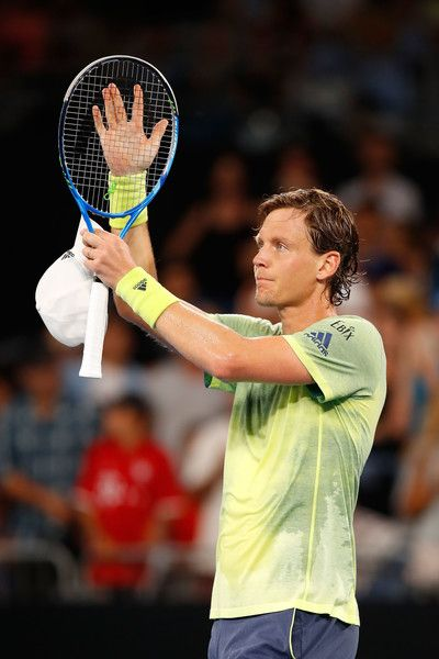 Tomas Berdych Photos - Tomas Berdych of the Czech Republic celebrates after winning his third round match against Juan Martin Del Potro of Argentina on day six of the 2018 Australian Open at Melbourne Park on January 20, 2018 in Melbourne, Australia. - 2018 Australian Open - Day 6
