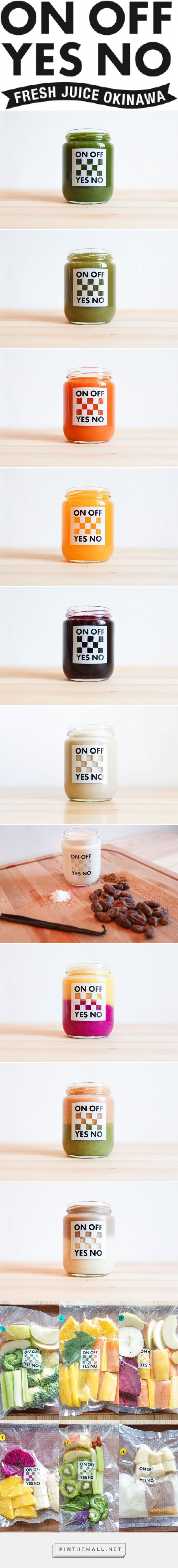 ON OFF YES NO packaging branding 沖縄野菜・果物を使ったコールドプレスジュース専門店 curated by Packaging Diva PD. Juices look delish don't they?