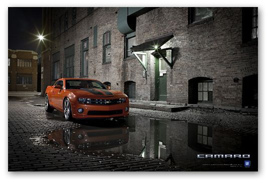 Camaro 2SS Inferno Orange Art Poster
