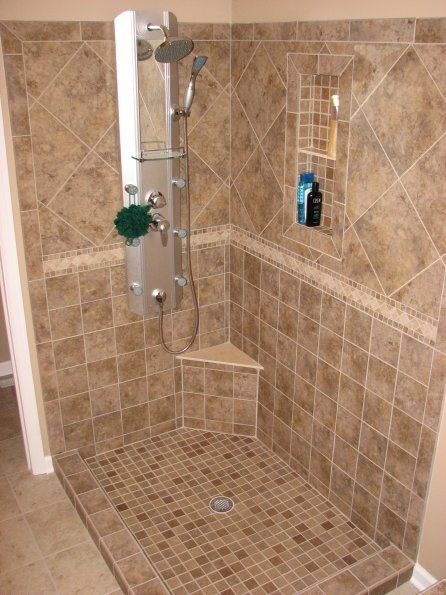 Custom Tile Shower with border not to the edge
