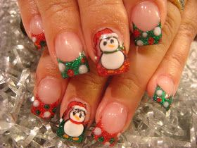 Penguins, Dots Christmas Nails ~ Red, Green, White, Black