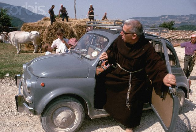 Monk Steeping Out of Car - 1968 Assisi #TuscanyAgriturismoGiratola