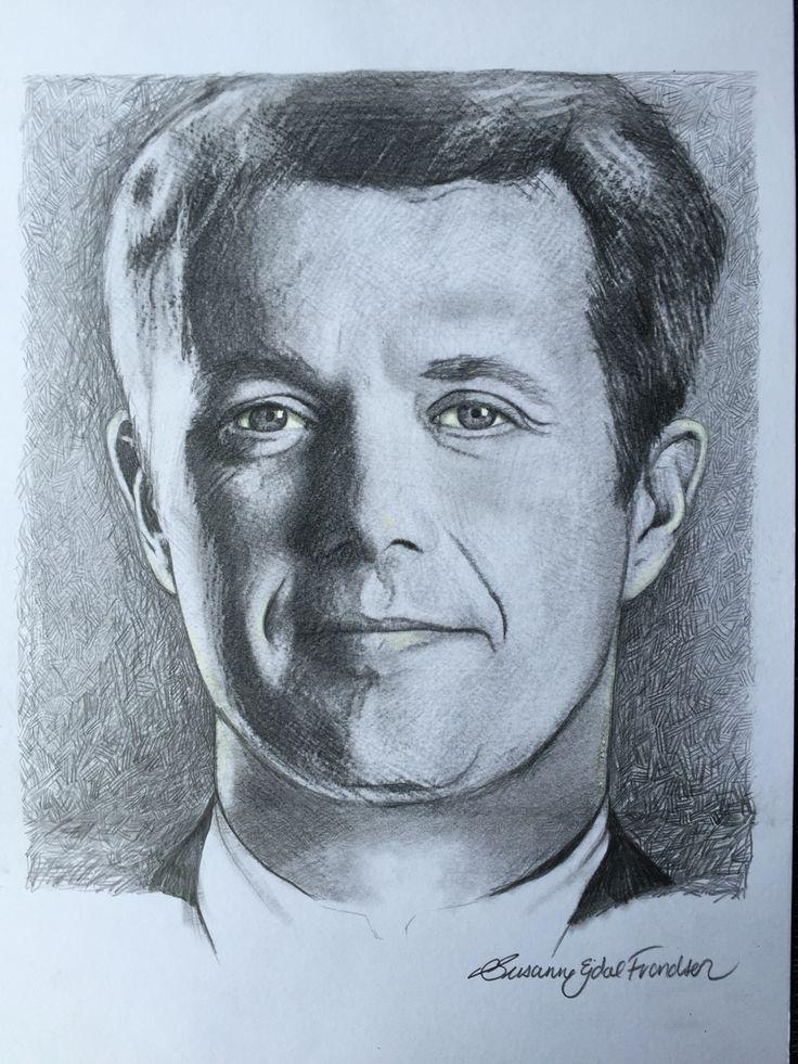 Kronprins Frederik tegnet på papir med blyant og grafit.