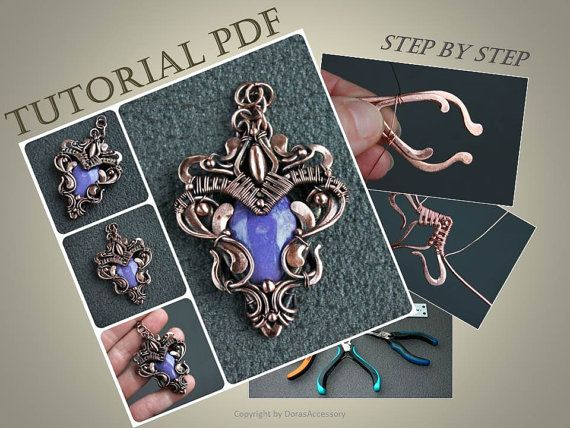 Tutorial wire wrapped pendant PDF  wire wrap by DorasAccessory