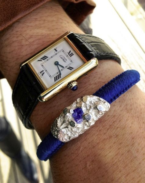 URU Bangle with Tanzanite and Cartier Watch