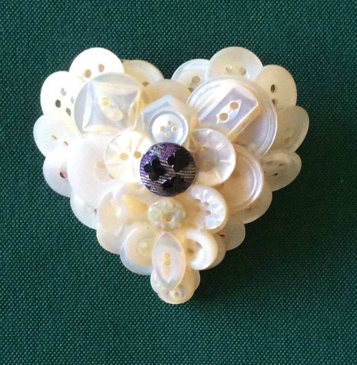 Vintage Button Collage Pin Brooch Hand Crafted Valentines Day