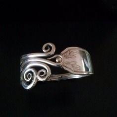 Bracelet fourchette, articulé,  mode,manche feuilles, unique, bijoux original