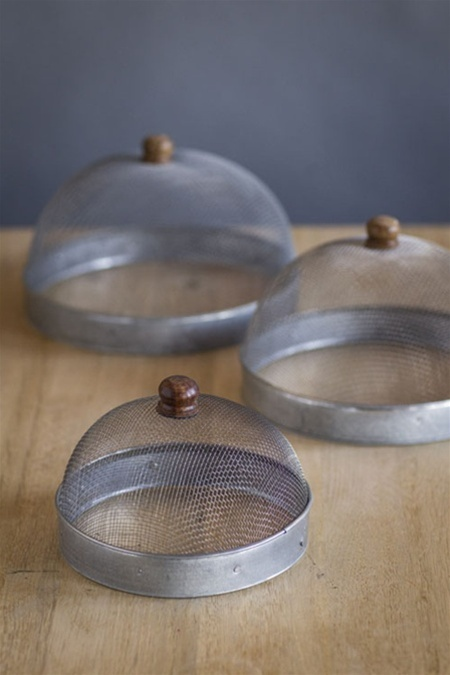 Nesting Metal Wire Covers with Wood Handles by Vagabond Vintage