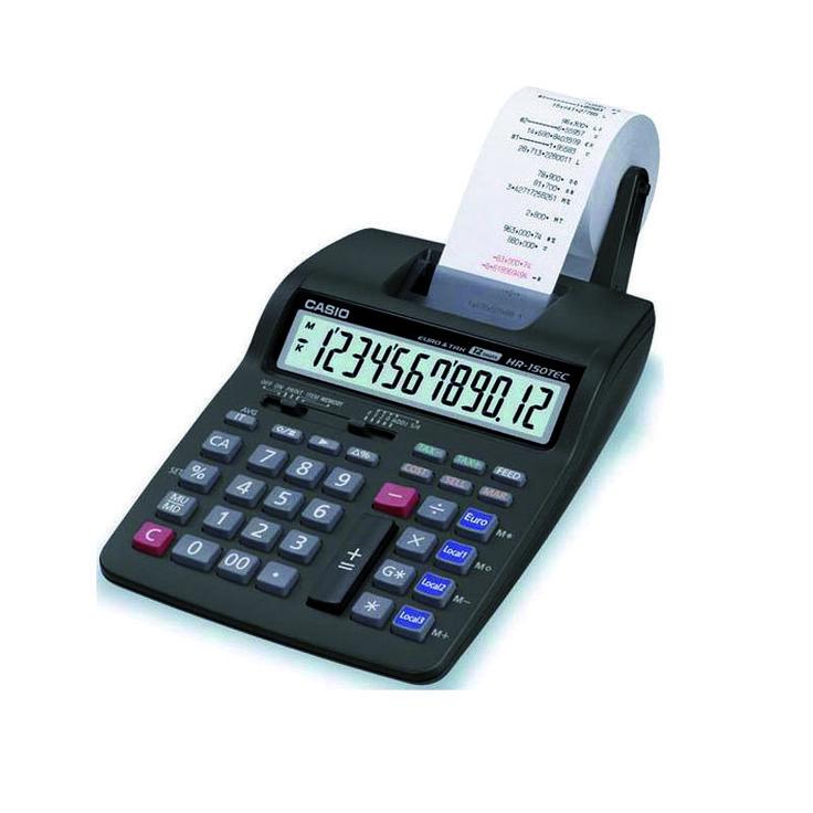 CALCULADORA CASIO HR150TEC. Pantalla LCD de 12 dígitos. Velocidad impresión 2.0 línea/seg. Impresión bicolor. Conversión euro (3 divisas). Cálculo ganancias. Cálculo impuesto. Dimensiones: 165,5 x 285 mm. Alimentación por pilas (4x A4). Adaptador CA opcional Ref. D40076.