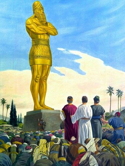 Daniel 3:14 Habló Nabucodonosor y les dijo: ¿Es verdad, Sadrac, Mesac y Abed-nego, que vosotros no honráis a mi dios, ni adoráis la estatua de oro que he levantado? ♔