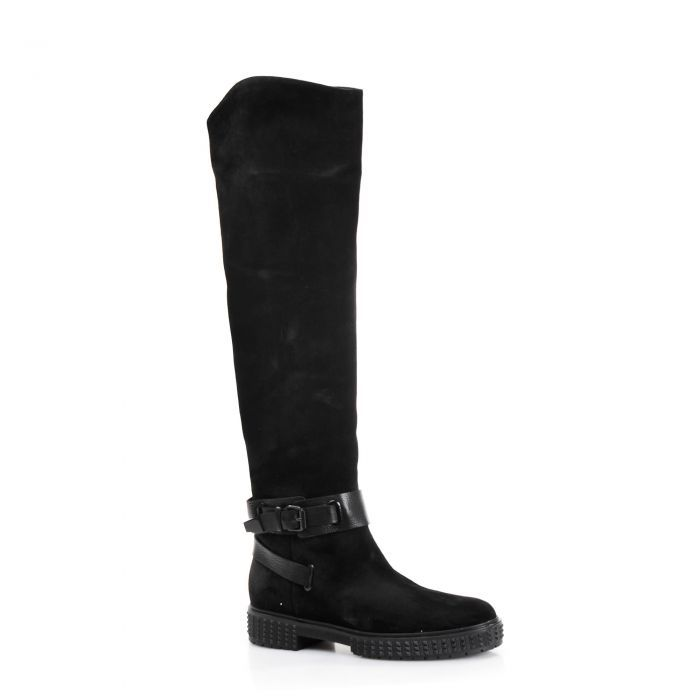 Nursace Черные замшевые сапоги с кожаными ремнями от бренда Nursace