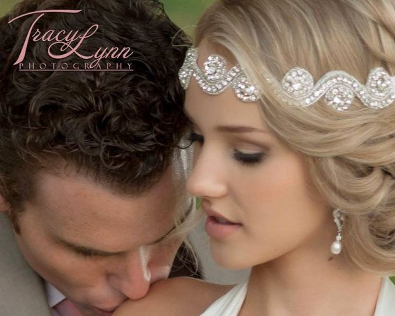 Wedding Band Vintage Style Crystal Beaded Swirl Stone Headband Head Piece Photo Prop on Etsy, $36.99